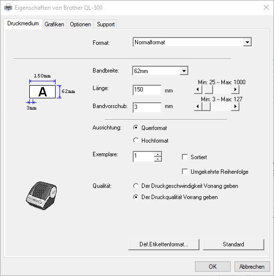 Druckdialog des Brother QL-500 mit den Einstellungen für die Paketmarke