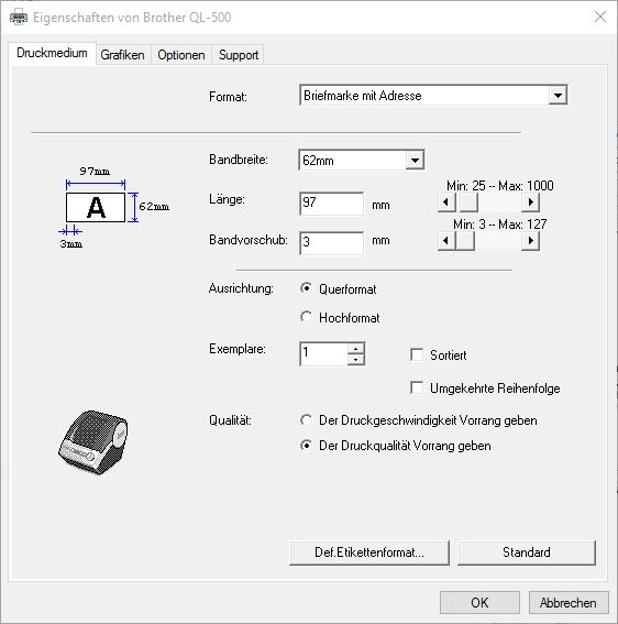 Druckdialog des Brother QL-500 mit den Einstellungen für die Internetmarke