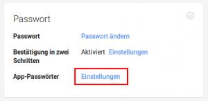 App Passwort erstellen