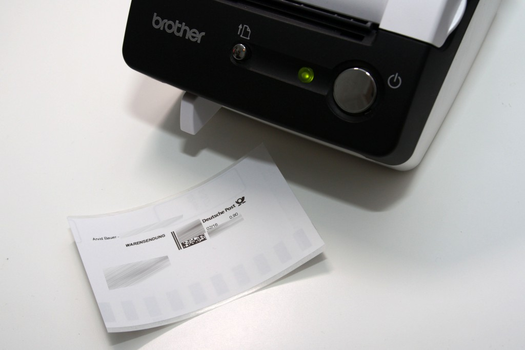 Brother QL-500 mit gedruckter Briefmarke / Internetmarke